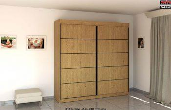 ארון הזזה 2 דלתות Z-4, ידיות הזזה ופסי קישות צבע שחור