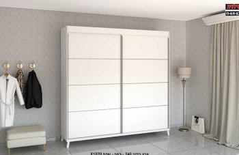 ארון הזזה 2 דלתות Z-3 +רגלי ישיר מוטה לבן